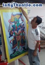 In tranh cúng dường treo trong chùa bằng vải bố canvas