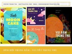 In poster Trung Thu dán cửa kính cho cửa hàng bánh kẹo, bakery