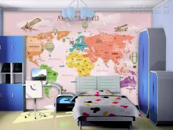 Nhận in decal dán tường TPHCM - decal dán tường bản đồ thế giới - Map of the World