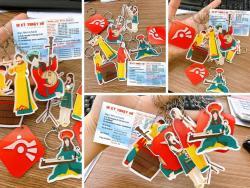 Đặt làm móc khóa sticker mica màu in hình theo yêu cầu, cắt theo viền, in số lượng ít TPHCM