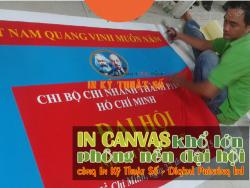 In canvas khổ lớn làm phông nền cho kỳ đại hội chi bộ chi nhánh Tp.HCM