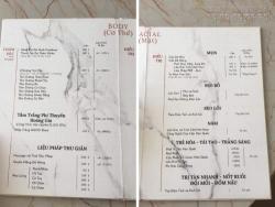 In menu spa - Mẫu menu spa đẹp, menu cho spa