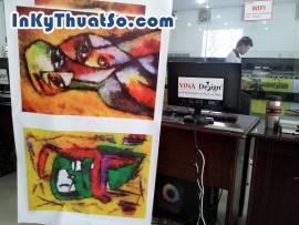 In tranh khổ lớn chất liệu canvas mực dầu cho tranh họa tiết cho trang trí nội thất