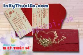 Thiệp cưới 3D dài D-703 đỏ phụng