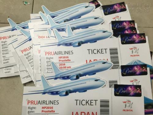 Thành phẩm in và cắt bế quảng cáo vé máy bay sự kiện hàng không