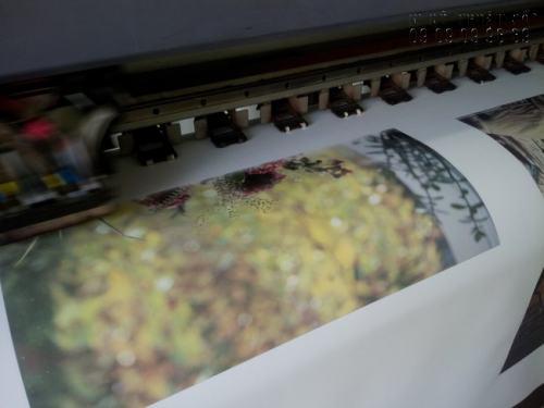Tranh sơn dầu 3D đang được in từ máy in khổ lớn, hiện đại tại In Kỹ Thuật Số