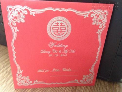 Thiệp mừng đám cưới được in trên nền giấy mỹ thuật có chất lượng siêu đẹp