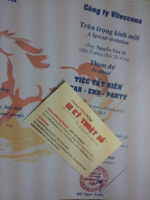 In giấy mời, thư mời tiệc tất niên cho công ty Viteccons trên chất liệu giấy mỹ thuật cao cấp, sang trọng