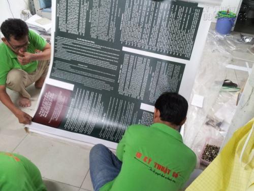 Gia công bồi format cho phông nền in PP | Loại hình in tranh PP cho triển lãm 2