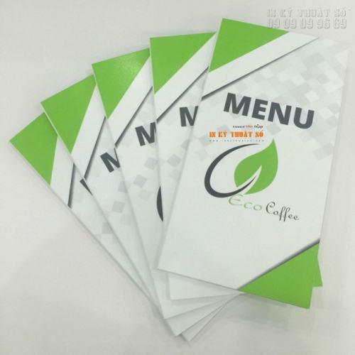 In menu, thực đơn quán cafe từ PP cán format