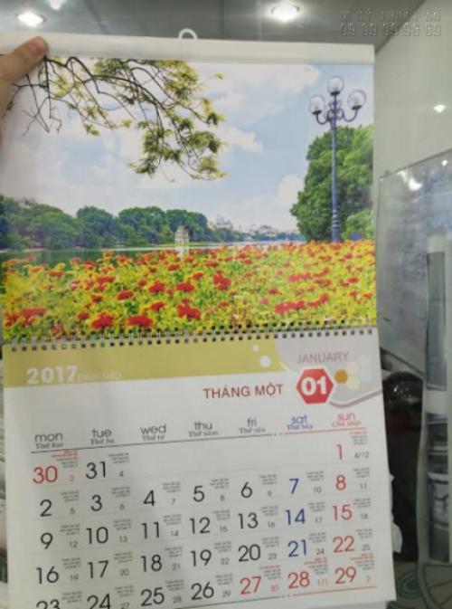 Lịch Tết lò xo 2017 với chủ đề phong cảnh, sắc hoa tươi đẹp mùa xuân, in ấn đẹp tại In Kỹ Thuật Số