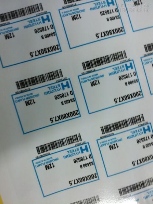Decal giấy cán màng bóng làm tem nhãn mã dán sản phẩm