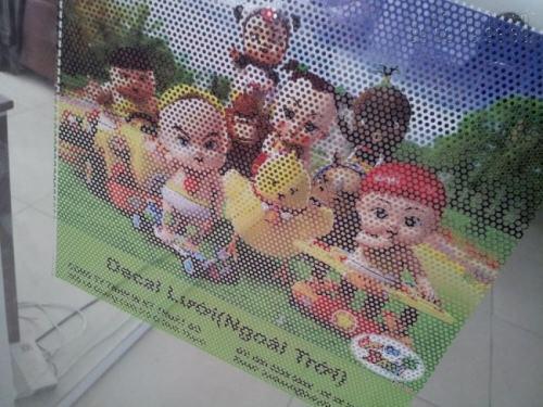 In Decal lưới hình ảnh hoạt hình dễ thương, in ấn chất lượng cao