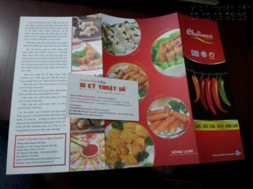 In Tờ rơi gấp 3, Flyer quảng cáo cho nhà hàng ăn uống với hình ảnh chân thực, cuốn hút người xem