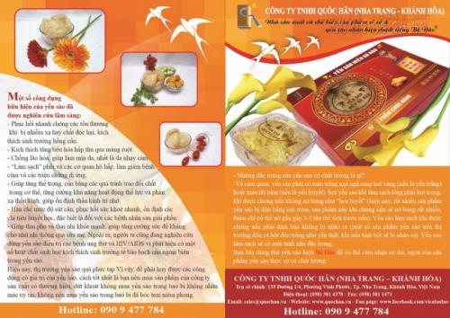 In Tờ rơi A4 trên chất liệu giấy Coucher tốt, in ấn đẹp cho Công ty Yến Sào Nha Trang
