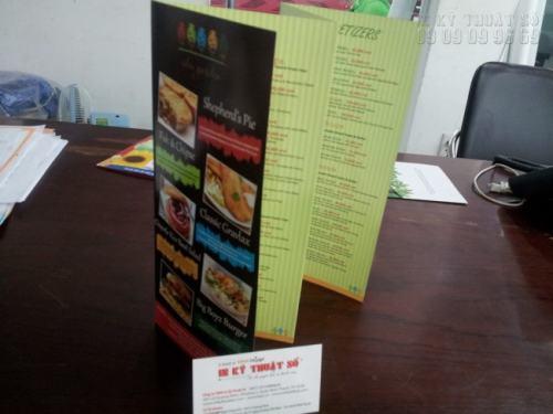 In Tờ rơi gấp 4 quảng cáo cho nhà hàng ăn uống, in ấn hai mặt siêu đẹp