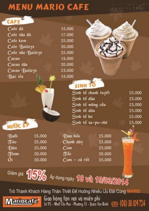 Tờ rơi quảng cáo menu cafe, nước ép, sinh tố cho quán Mariocafe