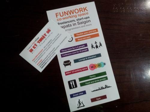 In tờ rơi quảng cáo HCM giá rẻ, in ấn chuyên nghiệp, thiết kế đẹp cho trang tìm việc làm FunWork tại công ty In Kỹ Thuật Số