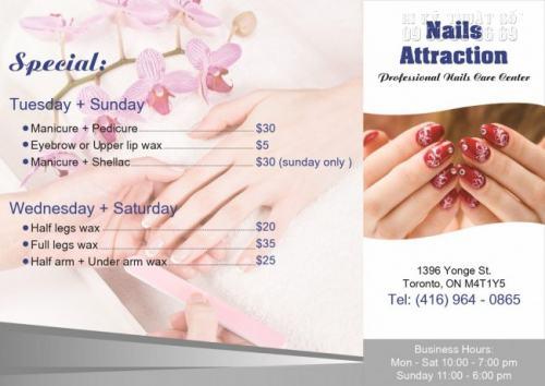 Tờ rơi quảng cáo cho Nails Attraction đẹp, khổ in A4 ấn tượng