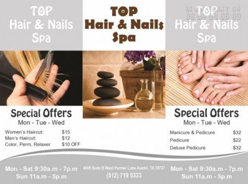 Tờ rơi lẻ A4 quảng cáo dịch vụ làm đẹp Top Hair & Nails Spa