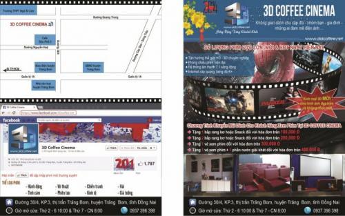 Tờ rơi màu quảng cáo cho rạp chiếu phim 3D Coffee Cinema có tích hợp bản đồ chỉ vị trí diễn ra các chương trình, sự kiện của Rạp chiếu phim