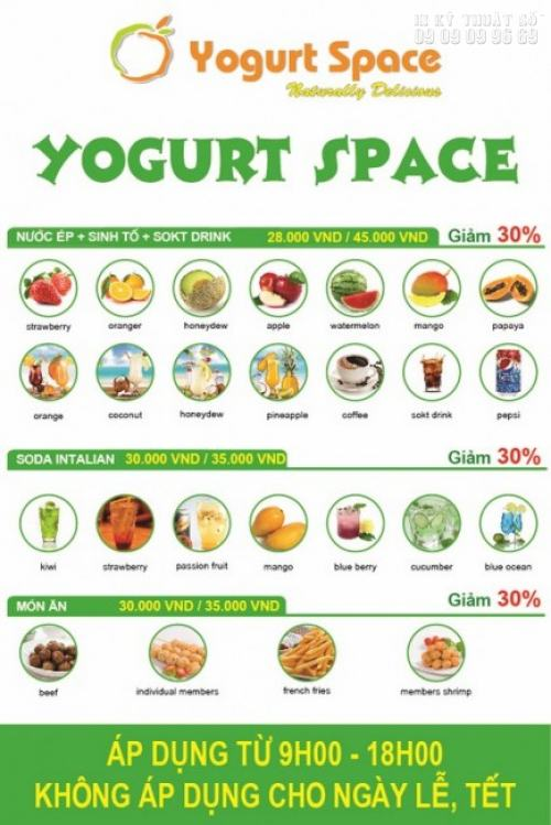 Tờ rơi màu khổ A5 ấn tượng với thiết kế độc đáo, hình ảnh gọn gàng, màu sắc tươi sáng, quảng cáo cho nước uống Yogurt Space