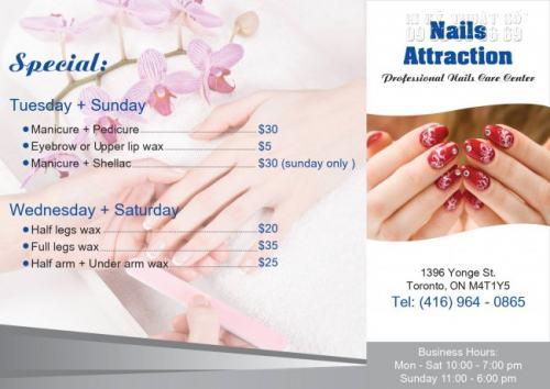 Tờ rơi màu được phối màu in ấn đẹp, quảng cáo cho Nails Attraction