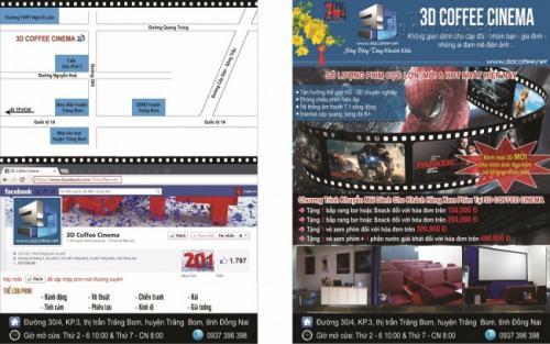 Tờ rơi quảng cáo A5 in 2 mặt cho rạp chiếu phim 3D Coffee Cinema