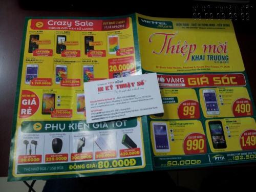 Tờ rơi quảng cáo sản phẩm khuyến mãi cho siêu thị điện máy, in khổ A3 gấp đôi