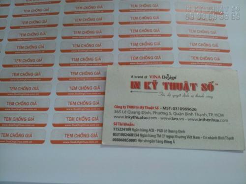 Decal giấy in ấn sắc nét tại InKyThuatSo làm tem chống giả cho hàng hóa