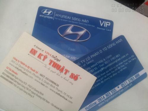 Các sản phẩm in thẻ nhựa do In Kỹ Thuật Số gia công và thiết kế đạt chuẩn về độ bền, màu sắc với công nghệ in offset, in laser, in phun và in nhiệt - Thẻ nhựa VIP member card thiết kế sắc nét, nổi bật thương hiệu Hyundai Sông Hàn tại công ty của chúng tôi.