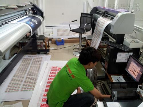 Nhân viên tại In Kỹ Thuật Số đang gia công bế tem decal các loại