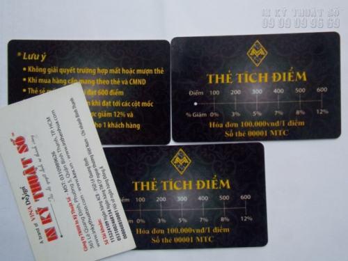 Thành phẩm in thẻ nhựa lấy ngay HCM với thẻ tích điểm đẹp, in sắc nét tại Công ty TNHH In Kỹ Thuật Số