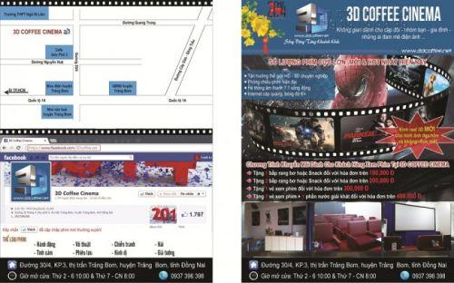In tờ rơi A5 giá rẻ HCM 2 mặt cho 3D Coffee Cinima rõ nét, hình ảnh chân thực, thể hiện rõ thông điệp và nội dung được thực hiện tại In Kỹ Thuật Số