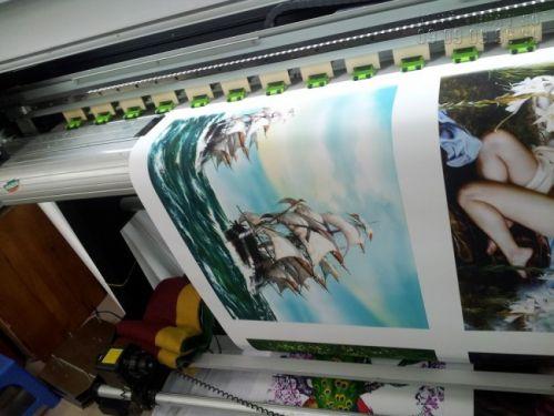 In tranh canvas thuyền buồm bằng mực nước siêu nét