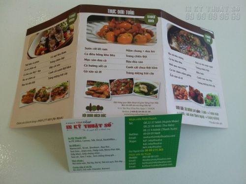 In menu, thực đơn bằng kỹ thuật in tờ rơi nhanh cho nhà hàng, quán ăn với hình ảnh minh họa rõ nét, bố cục hài hòa thu hút, tạo hiệu ứng quảng cáo tốt hơn.
