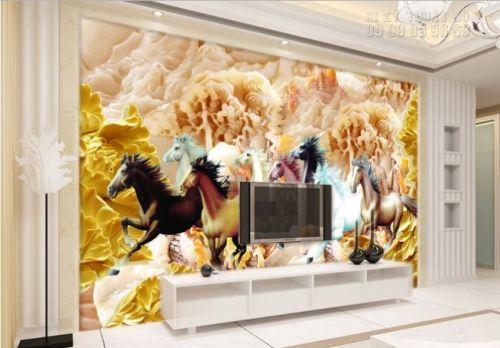 Tranh 3D dán tường mã đáo thành công - tranh ngựa 3D - Ma47