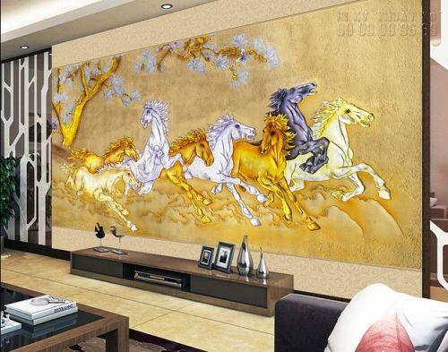 In tranh dán mã đáo thành công sơn son thiếp vàng - Ma10