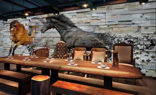 In giấy dán tường hình con ngựa giả gỗ - Ma80