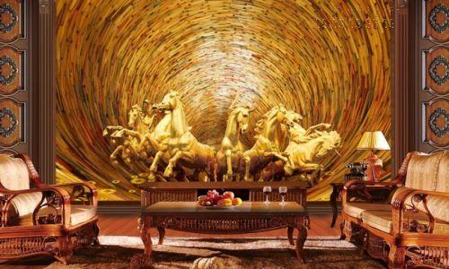 In tranh 3d dán tường mã đáo thành công phong cách sơn sơn thiếp vàng - Ma07