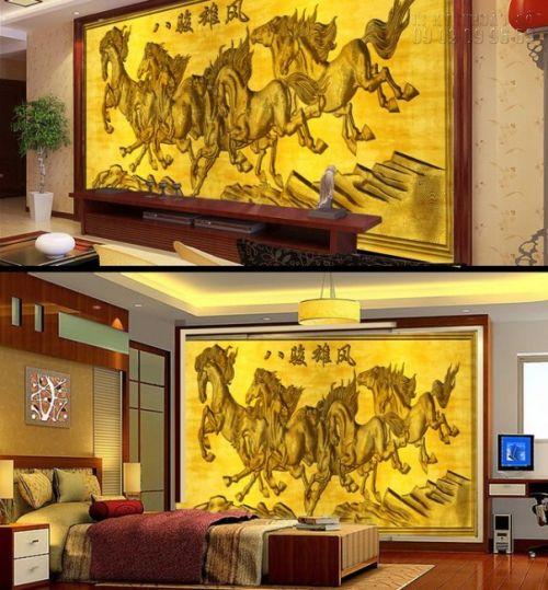 In tranh dán tường 3D mã đáo thành công sơn sơn thiếp vàng - Ma13