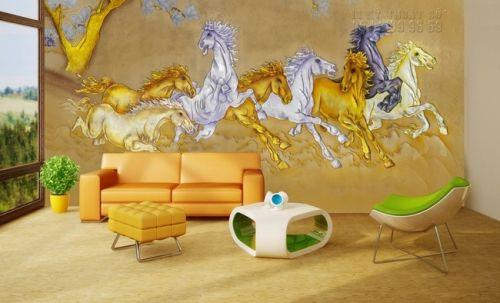 In tranh dán tường mã đáo thành công sơn son thiếp vàng - Ma17