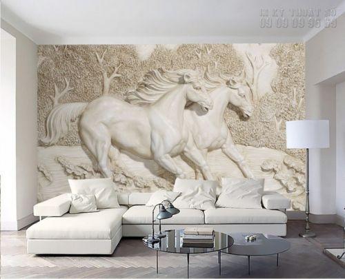 In tranh ngựa 3D - tranh 2 ngựa - Ma41