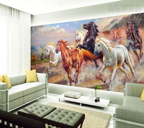 In tranh ngựa 3D dán tường - Ma23