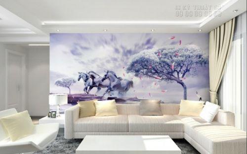 In tranh ngựa 3D - tranh 3 ngựa - Ma68