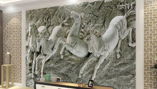 In tranh ngựa 3D - tranh 4 ngựa - Ma34