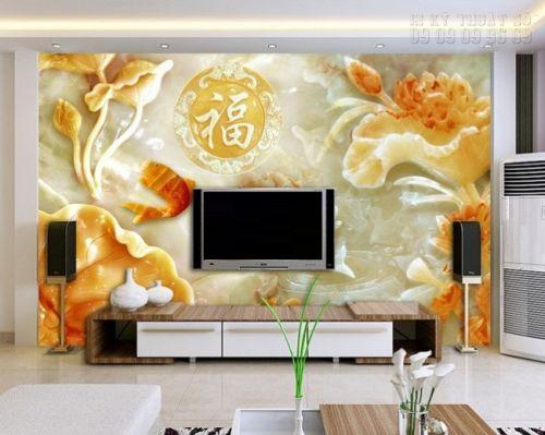 In tranh dán tường giả ngọc Cá chép Hoa sen- NG10