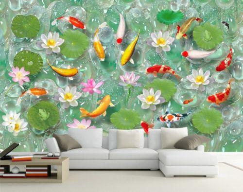 In tranh dán tường giả ngọc Cá chép Hoa sen- NG08