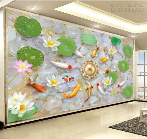 In tranh dán tường giả ngọc Cá chép Hoa sen- NG09