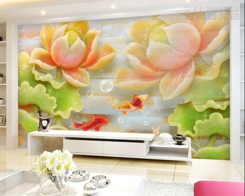 In tranh dán tường giả ngọc Cá chép Hoa sen- NG14